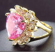 Pink&Gold Bling Heart Ring