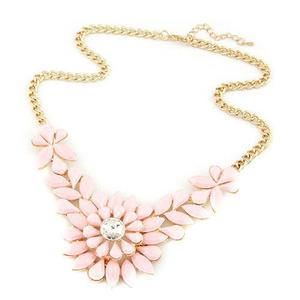 Gold & Pink Flower Necklace