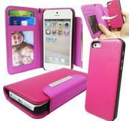 Iphone 5+5s plånbok - Rosered