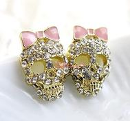 Pinkcrystal skull Earrings